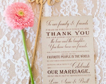 Thank you cards, reception thank you, table thank you cards