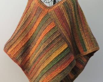 Crochet Poncho in Autumn Colours of Brown , Yellow , Red and Green