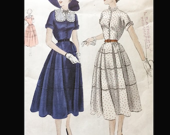 Vintage  50s Vogue Tiered Shirtwaist Day Dress WOUNDED BIRD Sewing Pattern 3339 B33
