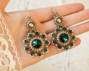 "Swarovski crystal earrings, beaded emerald earrings beadwork earrings beadwoven earrings bead weaving earrings seed beads earrings ""Emerald"""