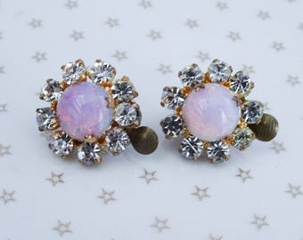 Vintage Gold Tone Pink Fire Opal Cabochon Clear Rhinestone Clip On Earrings //50s// //Mad Men//