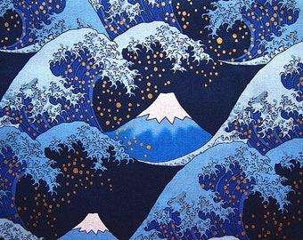 Japanese Mount Fuji and wave of Kanagawa blue and gold