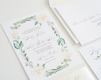 Wedding Invitation Greenery, Eucalyptus, Calligraphy Watercolor Wedding Invite: HALEY.