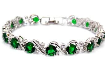 Silver Ruby And White Topaz 16ct Bracelet (925) RQIYXO5HGF