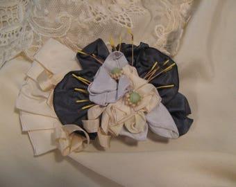 Ribbon Pin ~ Cream & Blues, Hat Decor, Hair Pin