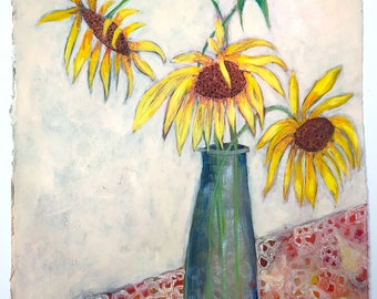 Acrylic painting still life floral on paper original unframed sunflowers in vase