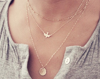 Dove Necklace / Gold Bird Necklace / Delicate Bird Necklace Silver / Dainty Layering Necklace / Rose Gold