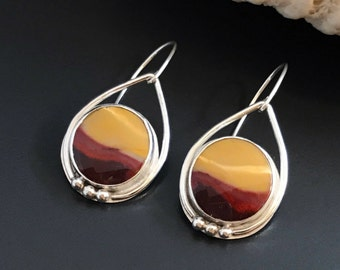 Jasper Earrings, Mookaite Stones and Sterling Silver, Red and Yellow Dangles, Landscape Sunset Design, Artisan Silversmith