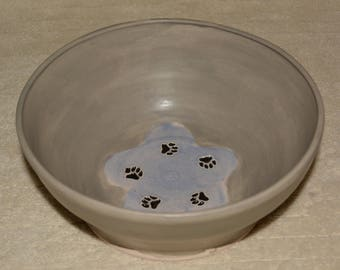Dog Bowl, Pet Bowl Water Bowl, Paw Prints Flower, Gray, Lavender, Stoneware, Ceramic