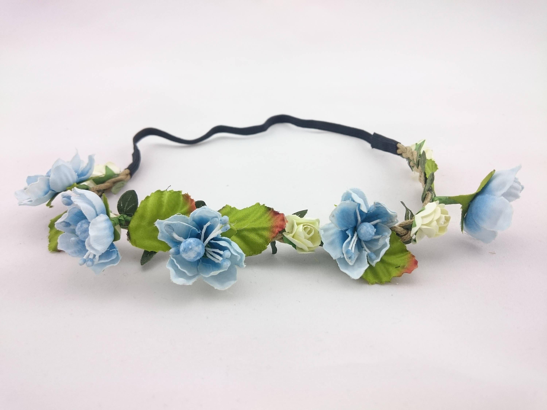 Blue flower headband blue flower crown blue bridal headband zoom izmirmasajfo Gallery