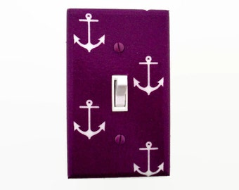 Nautical Light Switch Cover -  Anchor Switch Plate - Purple Nautical Nursery