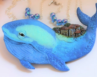 Blue Whale Necklace / Handmade
