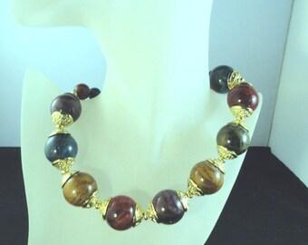 Vintage Colorful Huge Bead Statement Necklace Choker