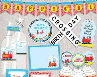 Train Party Printables - PDF files for birthday, christening, baby shower - just print, cut, and decorate