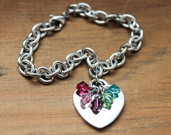 Charm Bracelet - Moms Bracelet - Grandma Bracelet - Family Bracelet - Personalized Jewelry