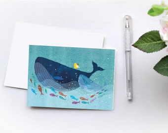 Folded Blue Whale Notecard 6pack