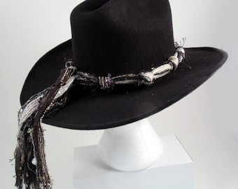 Cowboy Hat Bands, Cowgirl Hat Bands, Western Hat Bands, Adjustable Hat Bands, Black White Hat Band, Hat Band Only (Hat Not Included)