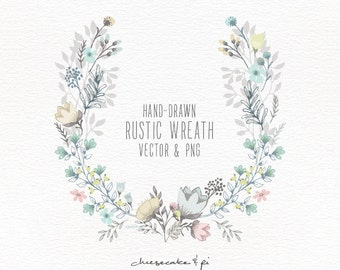 Floral Wreath Hand Drawn Clipart Wedding Invitation Clip Art Commercial Use PNG And Vector CM0062w1