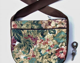 fabric flowers and foliage Crossbody Messenger bag