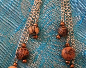 Handmade Chain and Wood Bead Drop Earrings