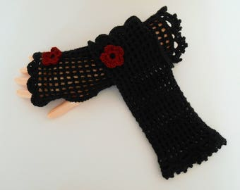 Black elegant crochet fingerless gloves