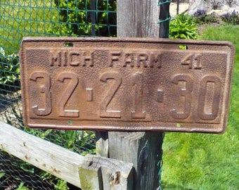 Michigan Farm License Plate 1941