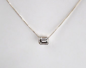 14k Gold .80 carat Emerald Cut Diamond Necklace