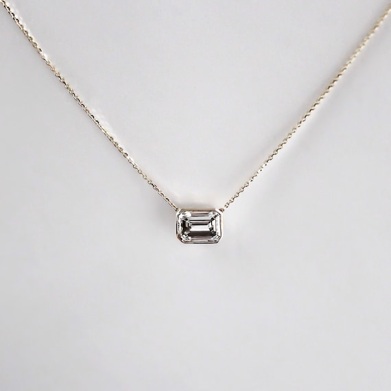 14k gold 80 carat emerald cut diamond necklace mozeypictures Choice Image