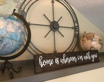 """Pallet Home is wherever I'm with you Sign - 5.5""""x30"""" - Grateful Love Family Rustic Decor Farmhouse Fixer Upper Wooden Betsy (Item - LHS100)"""