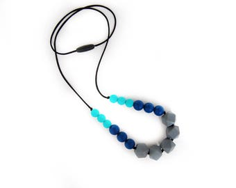 Grey, Turquoise, and Navy SiliconeTeething Necklace for Mom/ Nursing Necklace/Sensory Necklace/Chew Beads/Chewelry/Babywearing