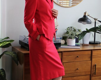 80 Bright Red Pencil Suit