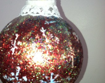 ON SALE 10% OFF Ornament hand painted with Snow flakes