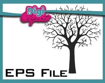 EPS Tree Silhouette Fingerprint Tree - Clip Art INSTANT DOWNLOAD