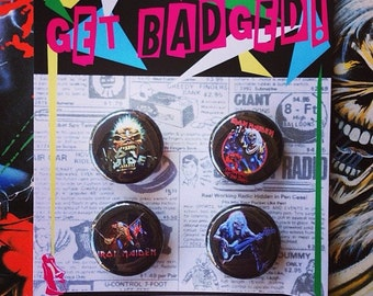 Iron Maiden 1 inch badge set of four