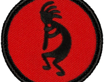Red & Black Kokopelli Patch (408R) 2 Inch Diameter Embroidered Patch