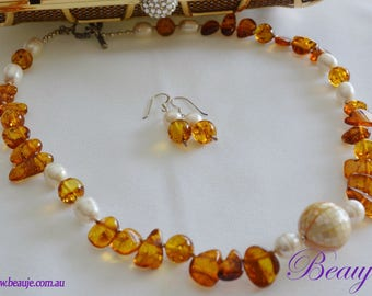 Amber necklace Baltic Amber Mother of Pearl necklace Gemstone Jewellery Sterling Silver Freshwater pearls Brown necklace Beauje Beaded