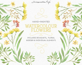 Watercolor flowers: PNG floral clipart / floral bouquets / Wedding invitation clip art / commercial use / Border / Yellow & green / CM0076h
