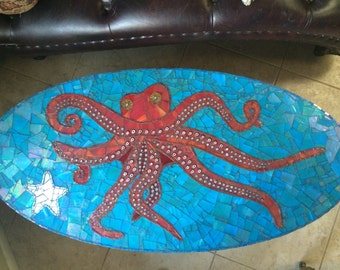 Octopus oval mosaic table