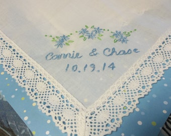 Something blue wedding handkerchief, name and date personalization, hand embroidered, bouquet wrap, wedding colors welcome, honeycomb lace