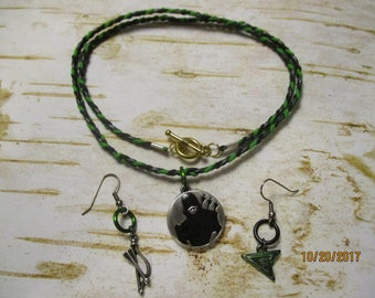 Green Arrow Jewelry Set Braided Necklace and Earrings
