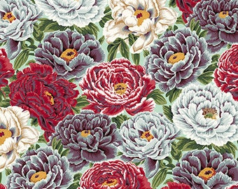 Peony Fabric, Philip Jacobs Snow Leopard, ENGLISH GARDEN, Garden Peonies, Woodland Floral Fabric, Cotton Quilt Fabric, Fabric By the Yard