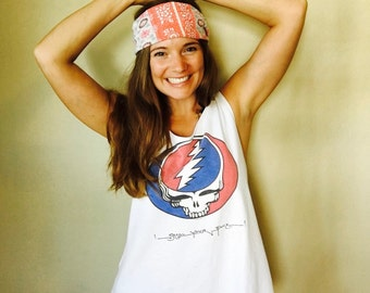 Open Back Grateful Dead Steal Your Face SYF T-shirt Woven Trim Festival Layering Shirt Top Tank Top Made To Order Woven Trim One Size