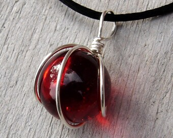 Ruby Red Marble Pendant Necklace, Marble Jewelry, Red Glass Silver Wire Wrapped Marble Necklace, Women Christmas Gift Stocking Stuffer