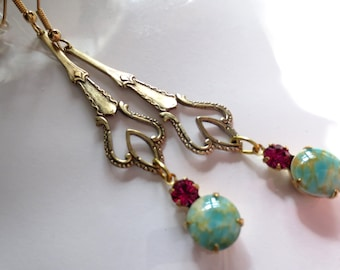Art Nouveau earrings Art Deco earrings vintage turquoise aqua and cerise crystal drop long 1920s Edwardian style