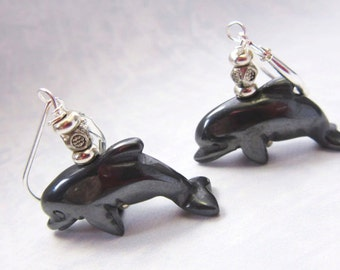 Dolphin earrings - hematite dolphin jewelry - dolphin lover gift - I made them on porpoise - dolphin jewelry animal earring