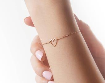 Gold Heart Bracelet, Rose Gold Bracelet, 14K Gold Bracelet, Solid Rose Gold Heart, Love Bracelet, Romantic Gift For Her, Delicate Bracelet