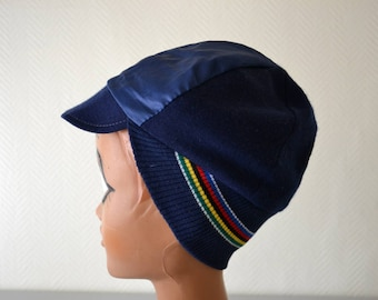 Vintage cap CAMPITTELO cycling sportswear made in Belgium  / blue cycle striped cap
