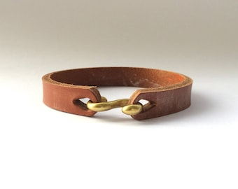 S Hook Retro Distressed Leather Bracelet Mens Leather Cuff Men