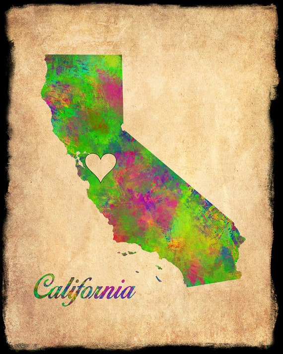 California Map Personalized Heart Watercolor Los Angeles San