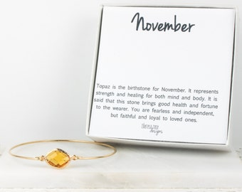 November Birthstone Gold Bangle, November Birthstone Gold Bracelet, Topaz Bangle Bracelet, Topaz Gold Bangle, November Gift